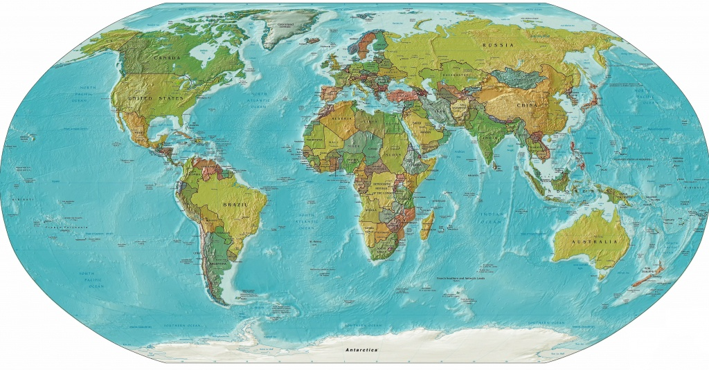 World Relief Map, Printable World Relief Map, World Physical Map - Printable Earth Map