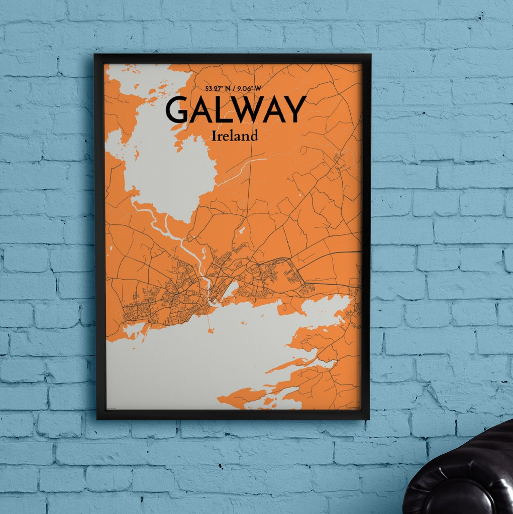 Wrought Studio 'galway City Map' Graphic Art Print Poster In Orange - Galway City Map Printable