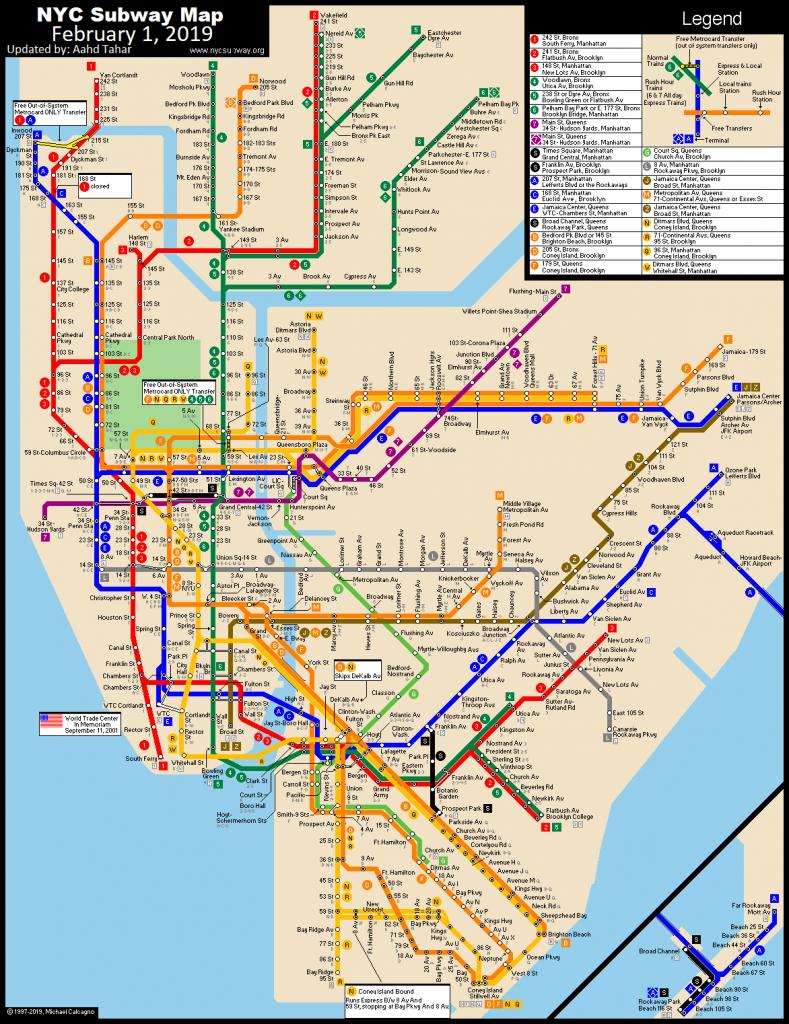 Www.nycsubway: New York City Subway Route Mapmichael Calcagno - Printable New York City Subway Map