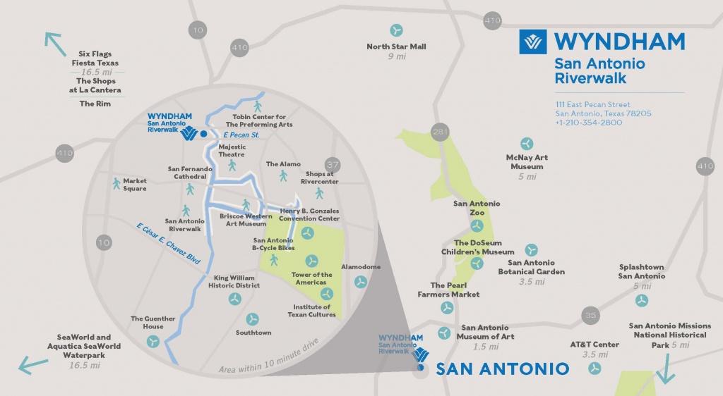 Wyndham San Antonio River Walk Hotel Area Map - Map Of Hotels In San Antonio Texas