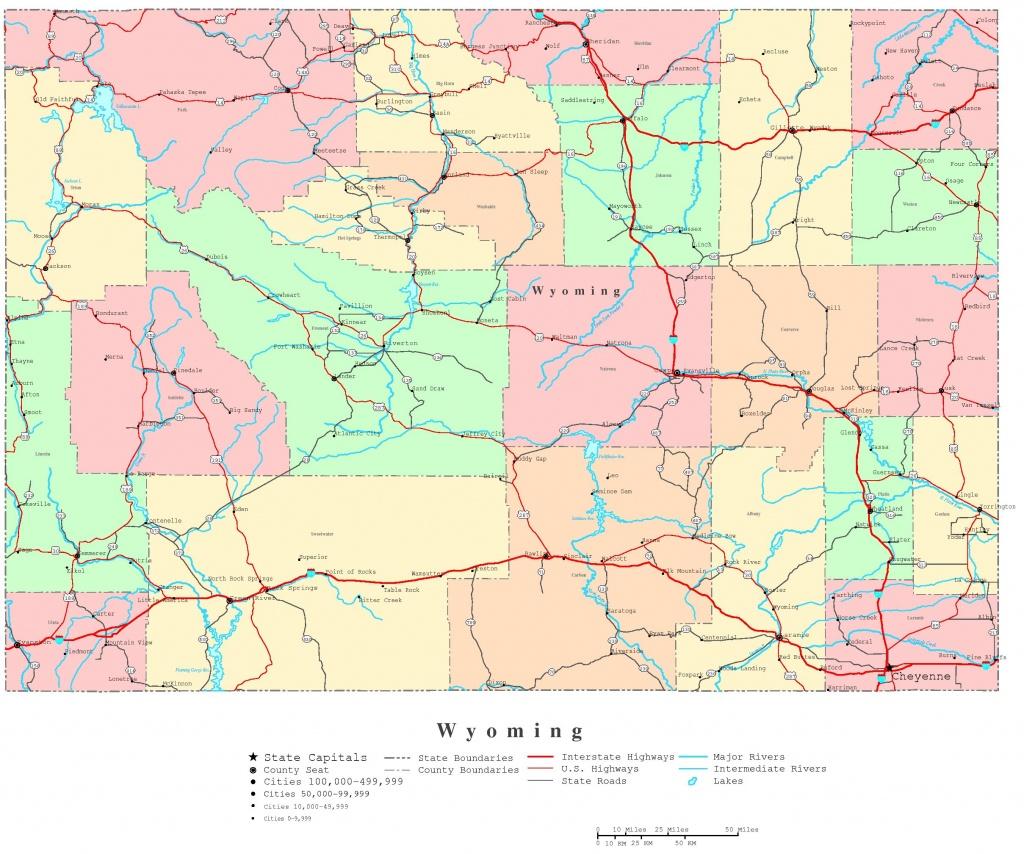 Wyoming Printable Map - Wyoming State Map Printable