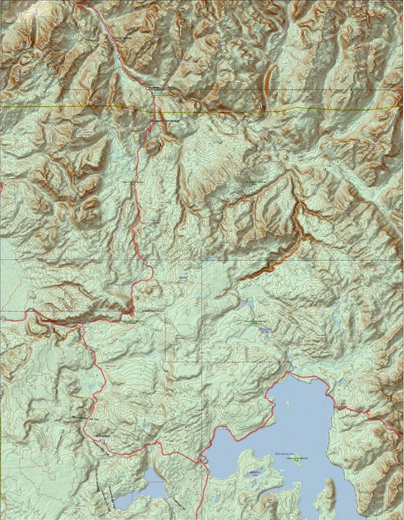 Yellowstone National Park Topo Map (Print Version) | Yellowstone Maps - Printable Topo Maps