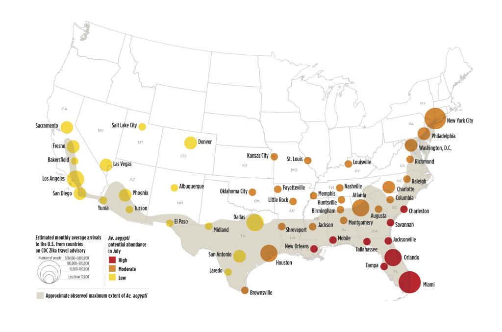 Zika Virus May Affect 50 U.s. Cities | Earth | Earthsky - Zika Virus Florida Map