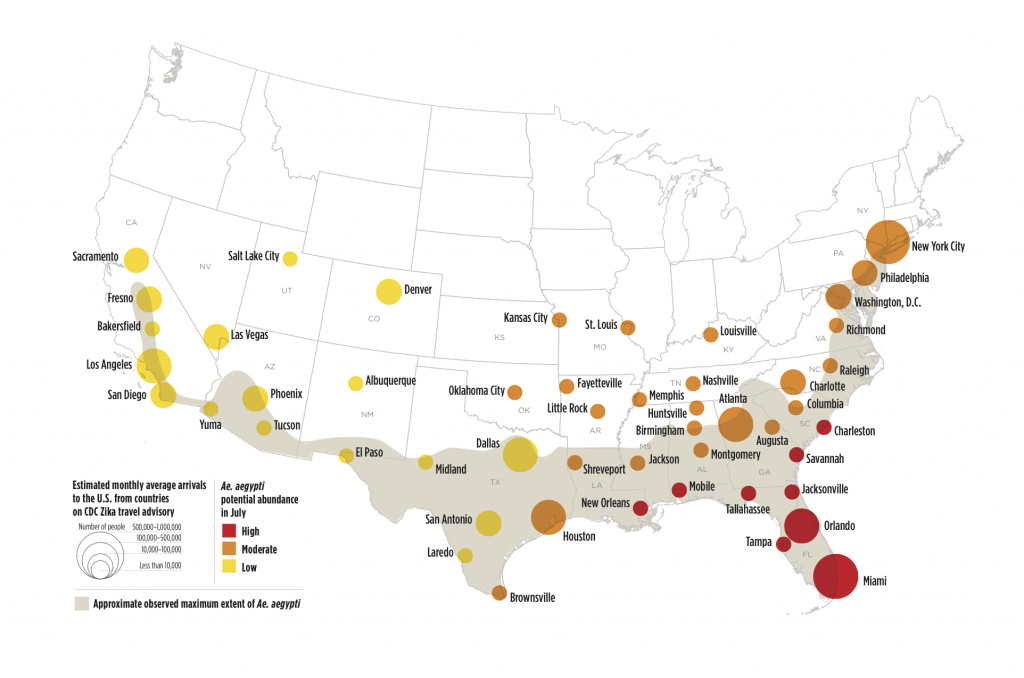 Zika Virus May Affect 50 U.s. Cities | Earth | Earthsky - Zika Virus Texas Map