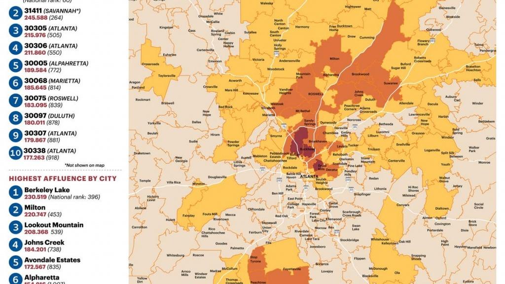 Zip Code 30327 'epicenter' Of Atlanta Affluence (Slideshow - Atlanta Zip Code Map Printable